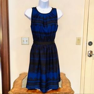 LOFT midnight blue & black sleeveless lined dress